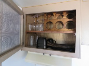 wine rack in trailer makeover